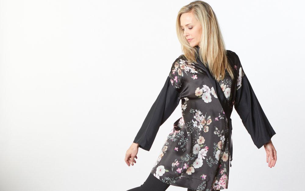 Franca Jacket in Black/Pink Italian Silk Print