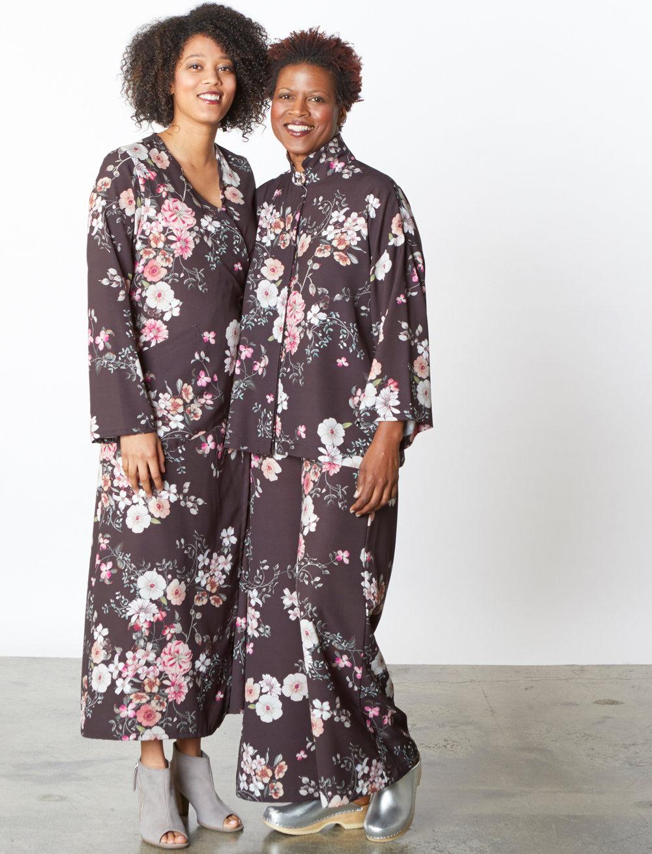 Bronte Dress, Alabama Shirt, Long Full Pant in Black/Pink Italian Bellagio Print