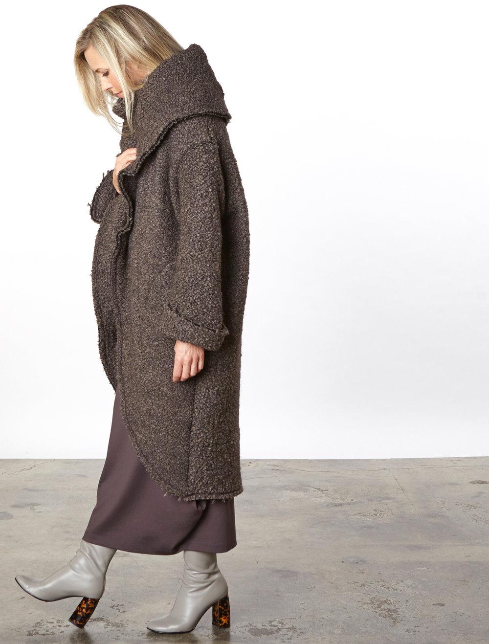 Wrap Coat in Orso Italian Boucle,Ilse Dress in Mocha Modal Ponti