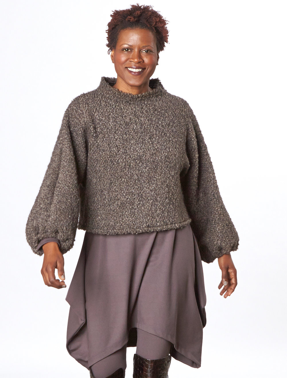 Anna Shirt in Orso Italian Boucle, Chase Tunic, Basic Legging in Mocha Modal Ponti