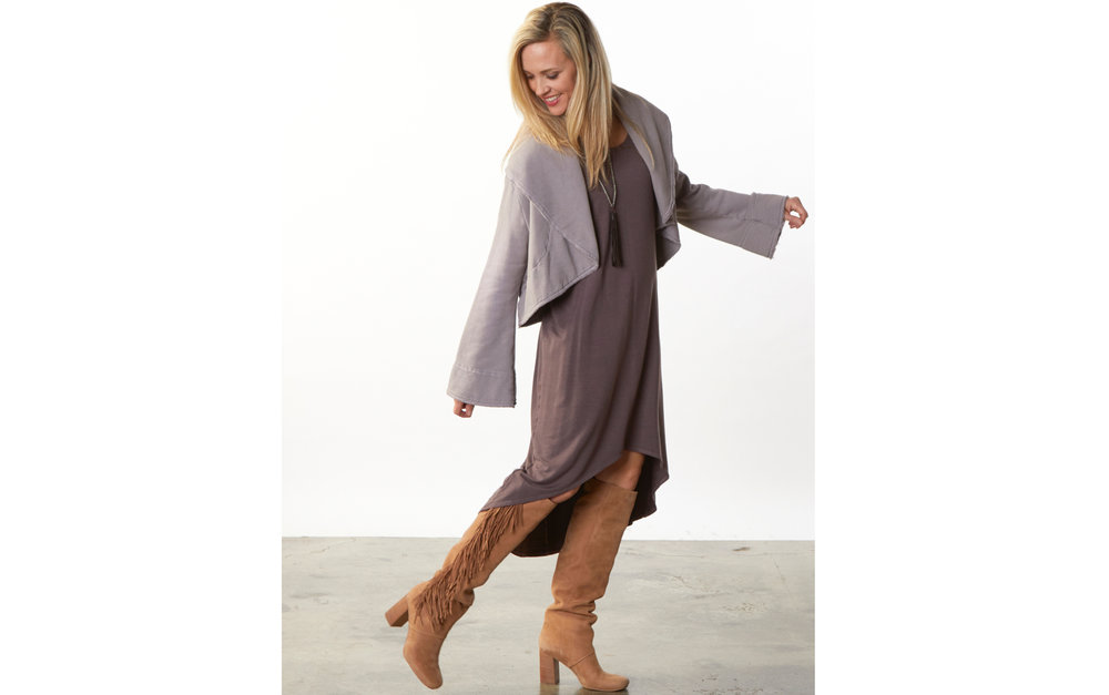 Crop Wrap Coat in Uffizi Bamboo Fleece, Elektra Dress in Portrait Grey French Terry