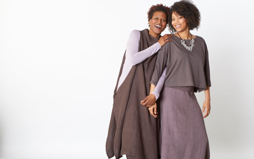 Gray Vest, Oliver Pant in Tiramisu, Hamish Skirt in Portrait Heavy Linen, Gabo Tunic in Veil Micro Modal in Gamay Bamboo French Terry, Button Back Shirt in Mocha Modal Ponti