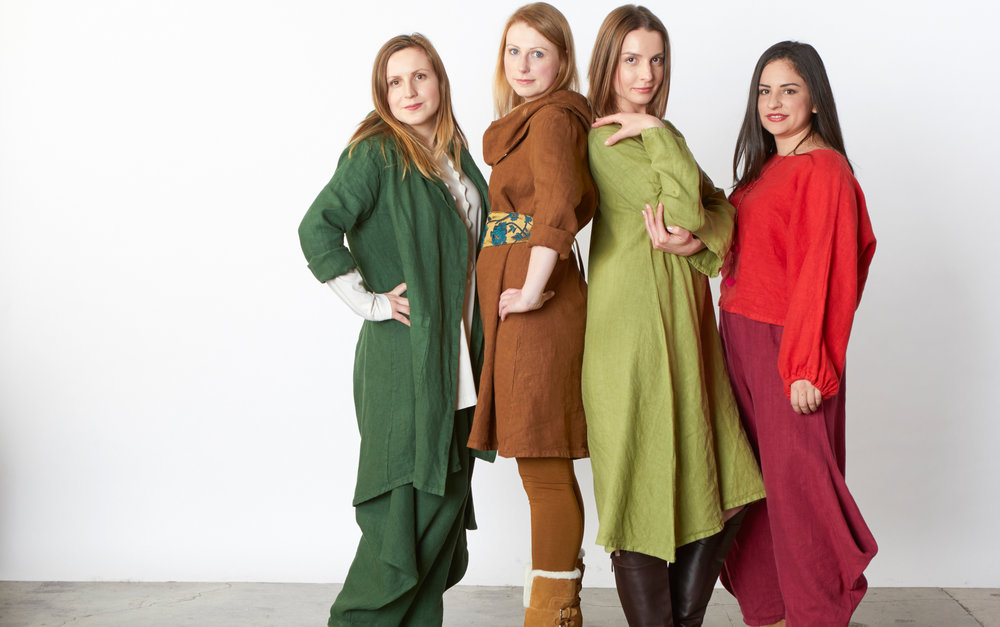 Morgen Jacket, Hamish Pant in Arborist, L/S Nolan Tunic in Equestrian, Linus Dress in Lime, Anna Shirt in Songbird, Hamish Pant in Gamay Heavy Linen