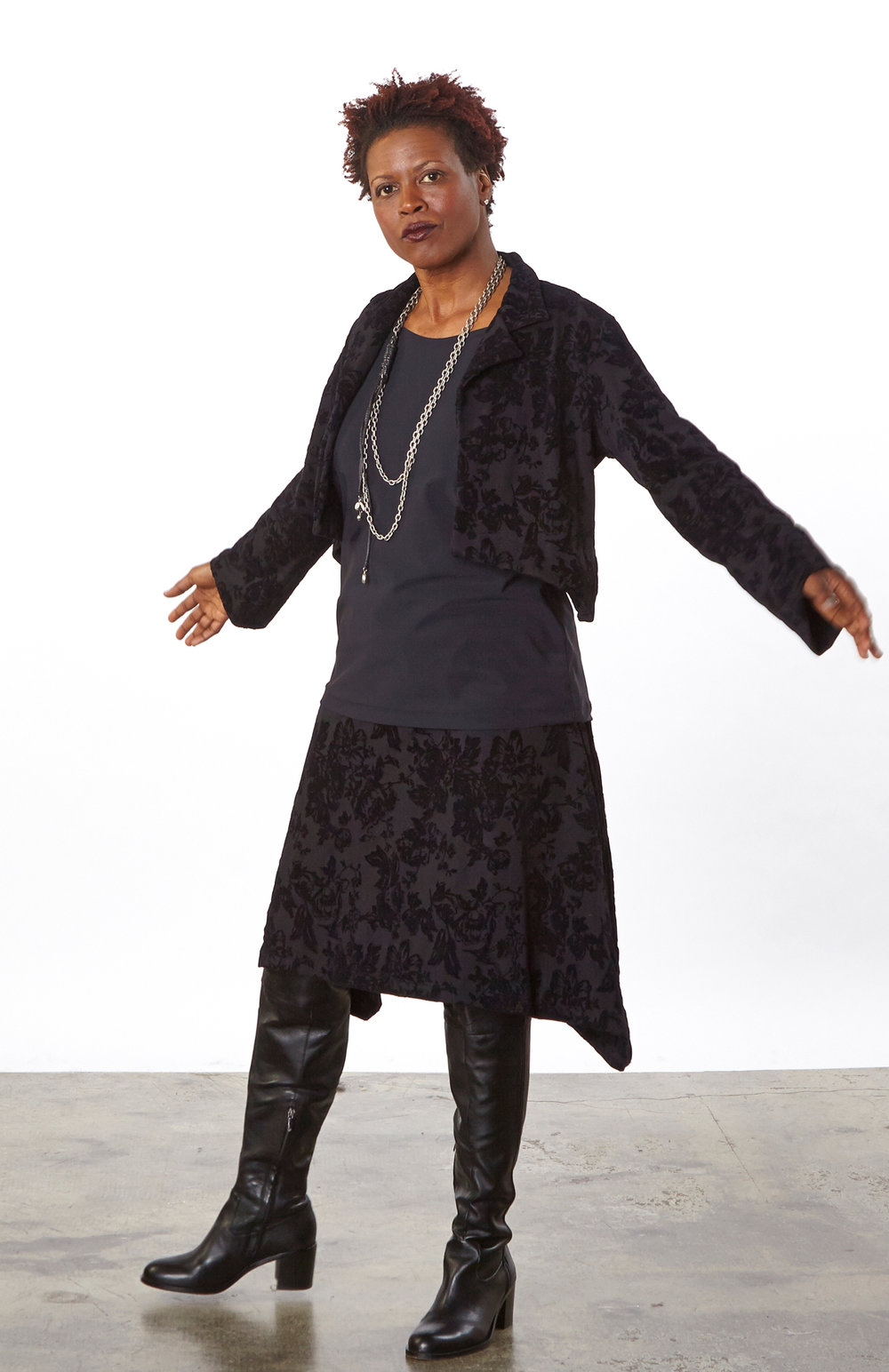 Hathaway Jacket, Sean Skirt in Black Italian Fiore Floccato