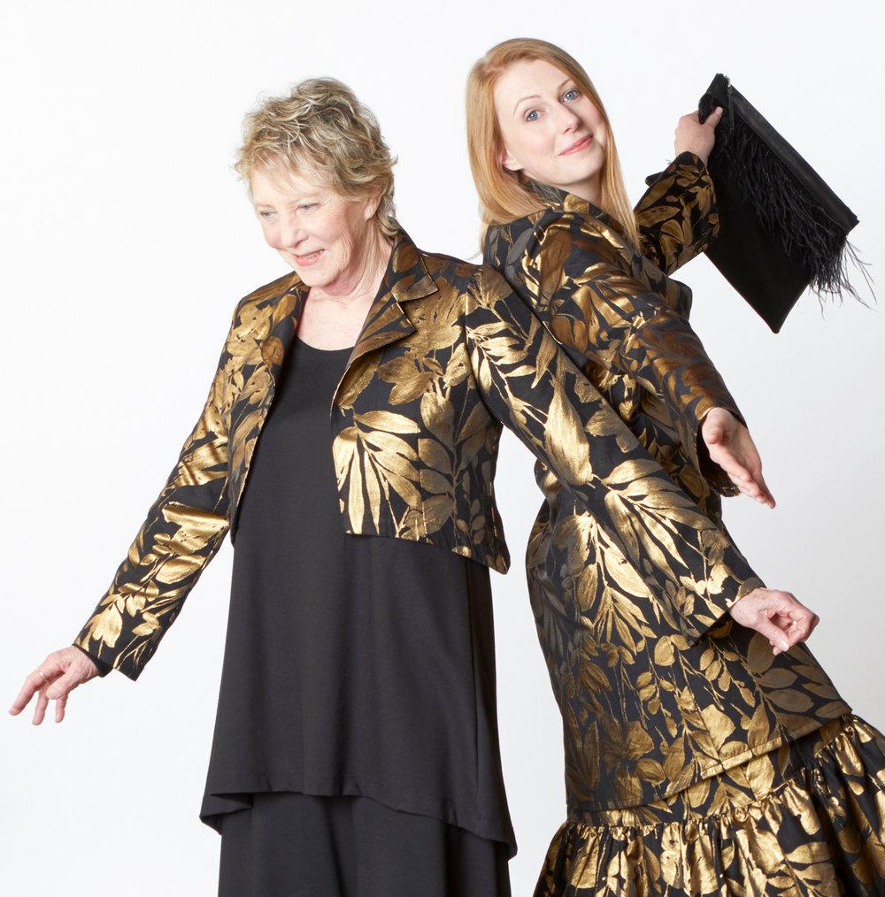 Hathaway Jacket, Estella Jacket, Ruffle Skirt in Gold Italian Folie d'Oro