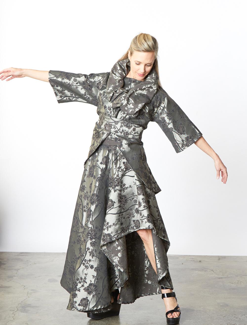 Bowie Jacket, Crop Vest, Grange Skirt in Silver Broccatello Fiori