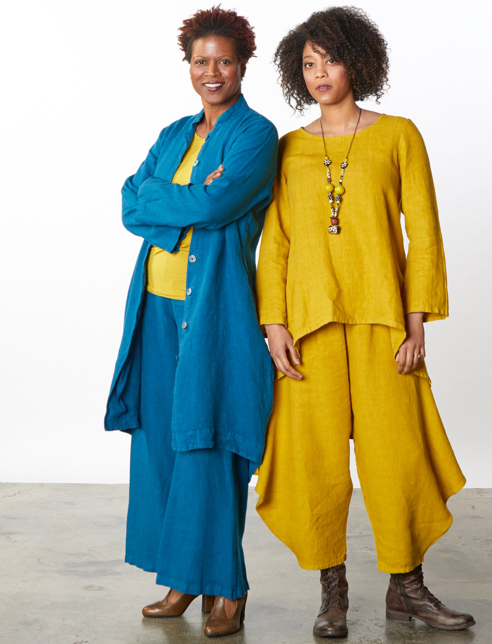 Somerset Jacket, Long Full Pant in Orinoco, Leo Tunic, Hamish Pant in Navona Heavy Linen, L/S Shell in Navona Micro Modal