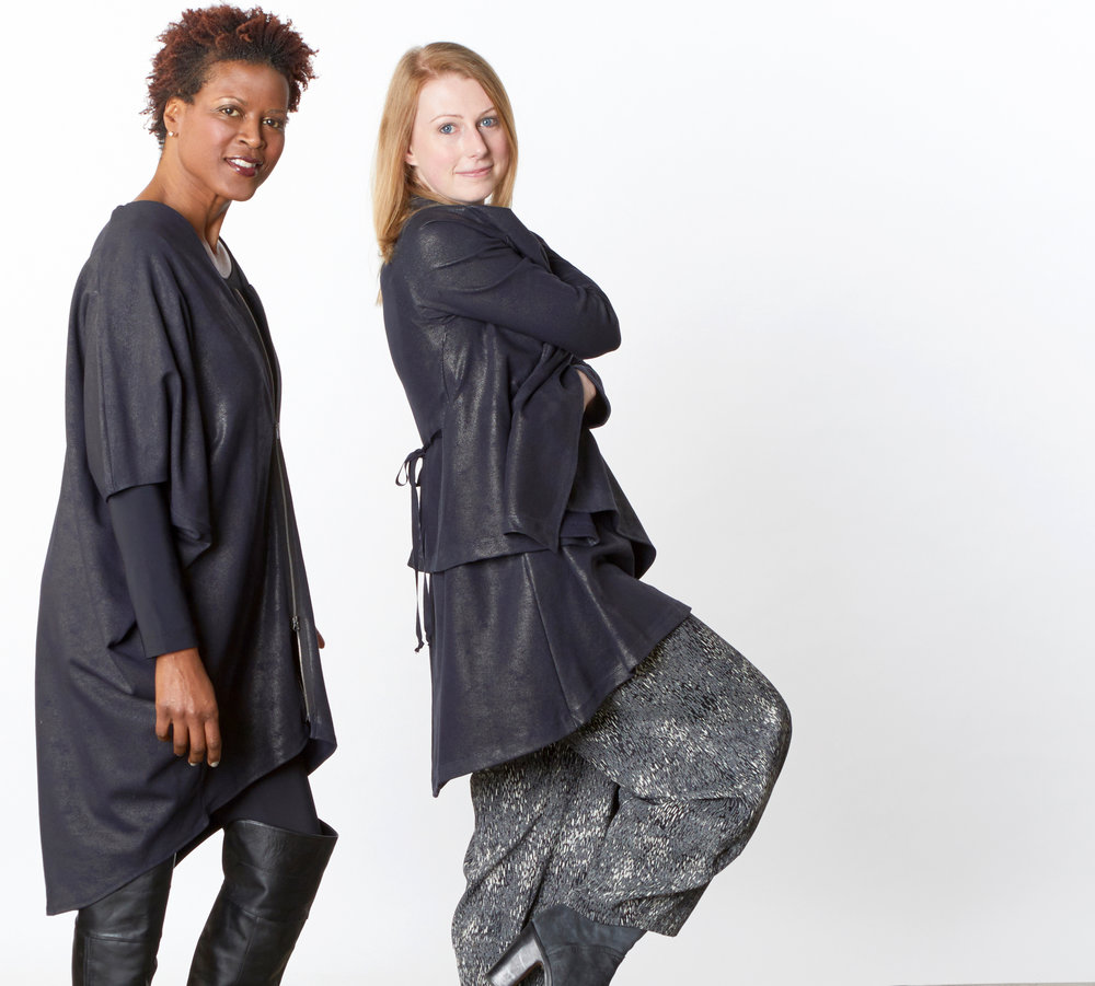 Rachel Tunic, Low Rise Legging, Eva Cardigan, Lois Tunic in Midnight Milano Laminato, Oliver Pant in Blue Ready for Helsinki