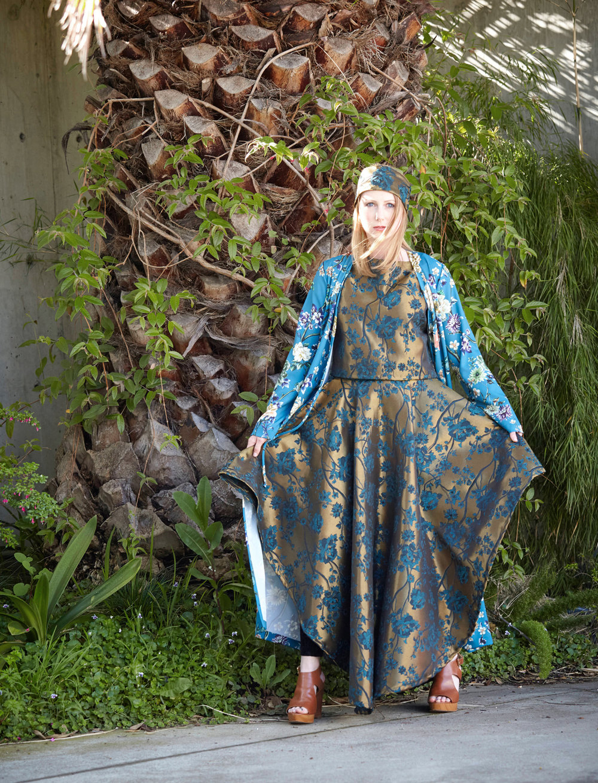 Crop Vest, Grange Skirt in Bronze Broccatello Fiori, Bronte Dress in Teal Italian Bellagio Print