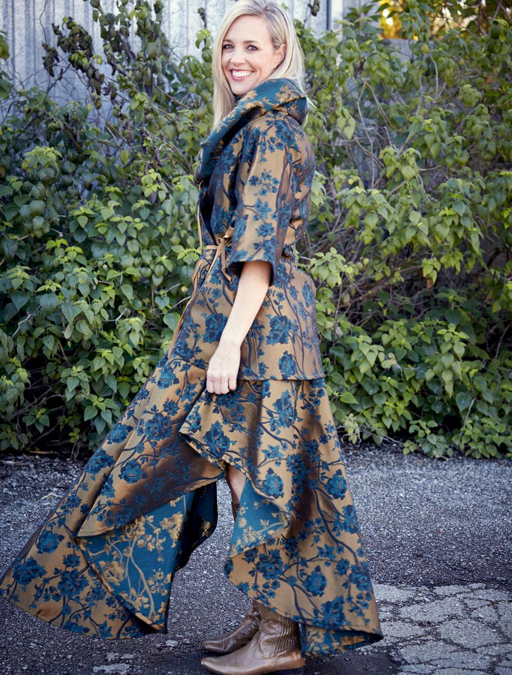 Bowie Jacket, Grange Skirt in Bronze Broccatello Fiori