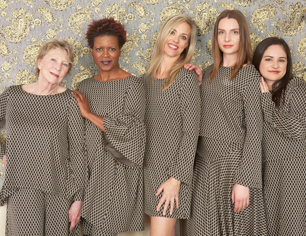Cindi Shirt, Ella Pant, Diego Tunic, Yasmin Tunic, Bianca Skirt in Black/Ivory Italian Jacquard Diamond
