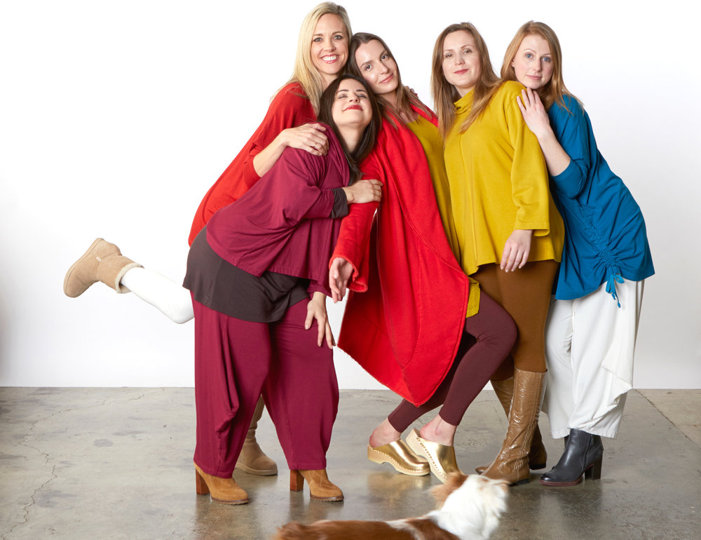 Boatneck Shirt in Songbird, Couch Shirt in Navona Bamboo French Terry, Astrid Shirt, Hamish Pant in Gamay Grey French Terry, Ruched Inman Shirt in Orinoco, Hamish Pant in Cream Organic Bamboo Cotton, Wrap Coat in Songbird Bamboo Fleece