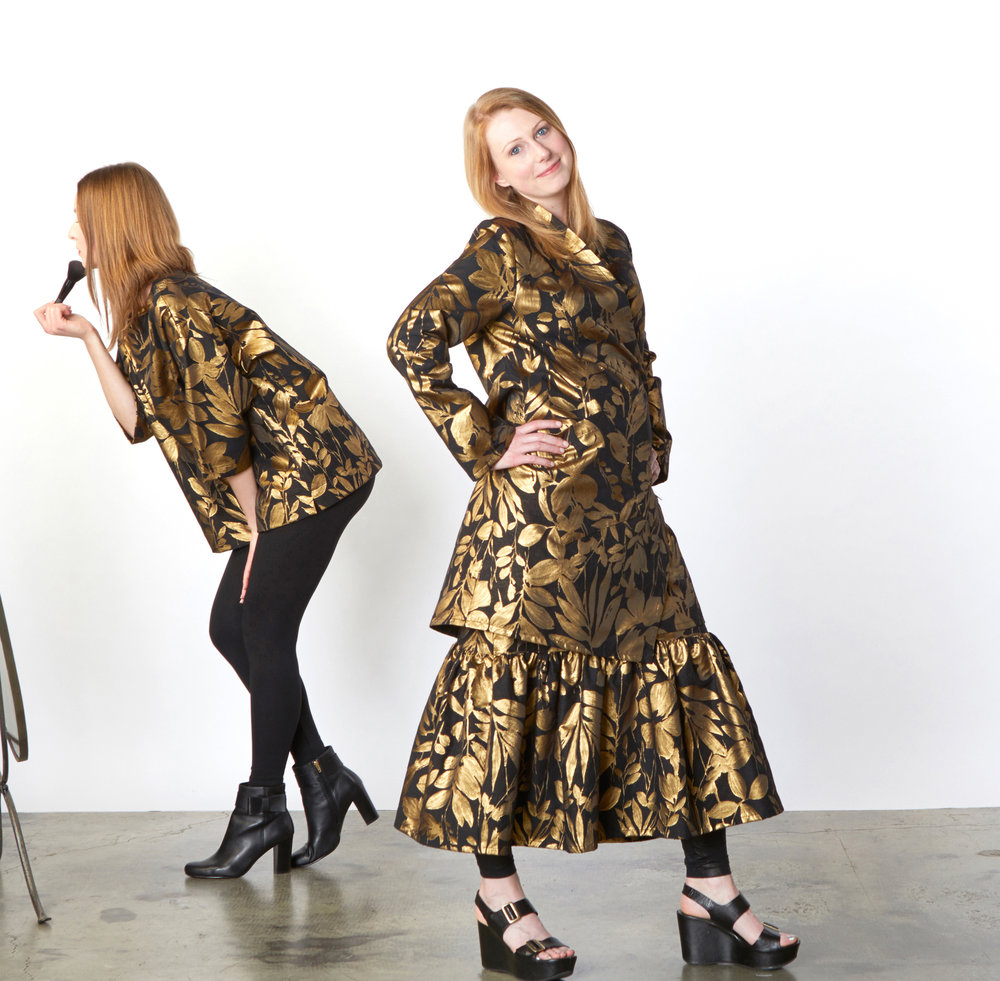 Resort Shirt, Estella Jacket, Ruffle Skirt in Gold Italian Folie d'Oro