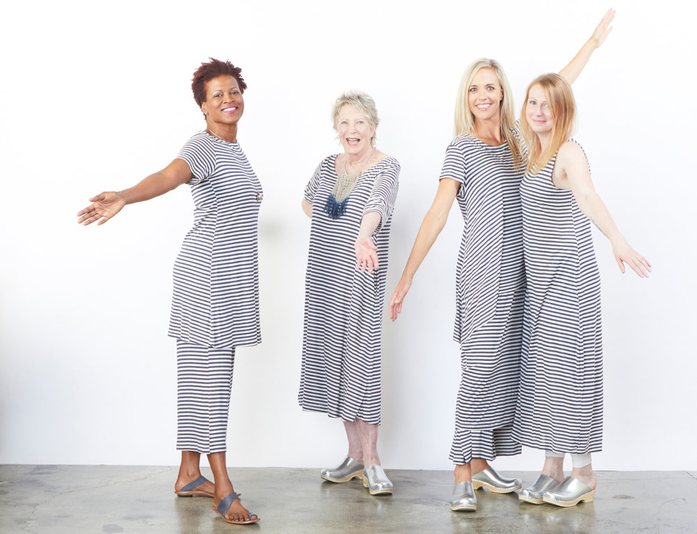 Bea Tunic, Homer Dress, Charlie Shirt, Ella Pant, Pippa Dress in Silk Viscose Stripe