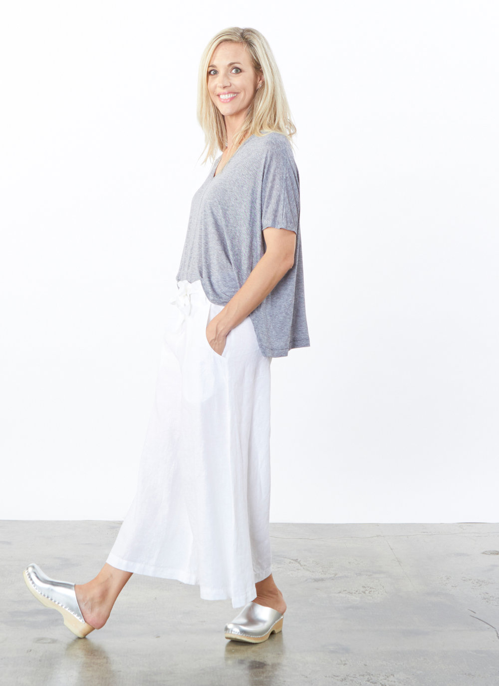Becca Shirt in Mini Stripe, Crop Tie Waist Pant in White Light Linen