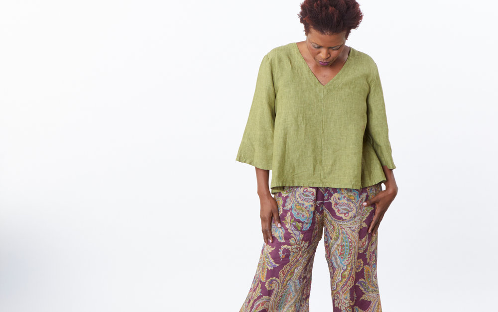 Lily Shirt in Ravello Cross Dyed Linen, Oliver Pant in Viola Paisley Italian Linen