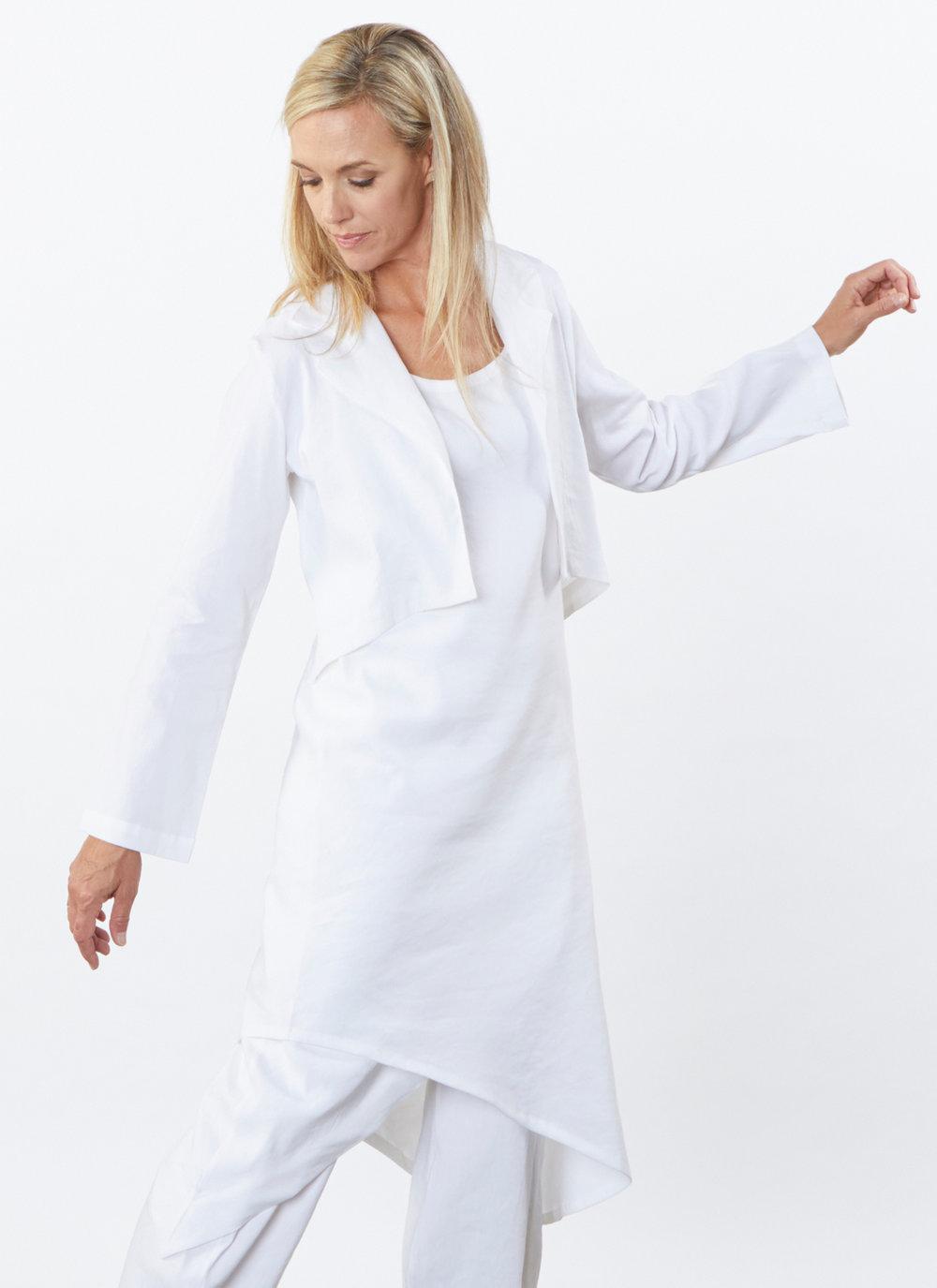 Hathaway Jacket, Euna Dress, Sofia Pant in White Ready for Bologna
