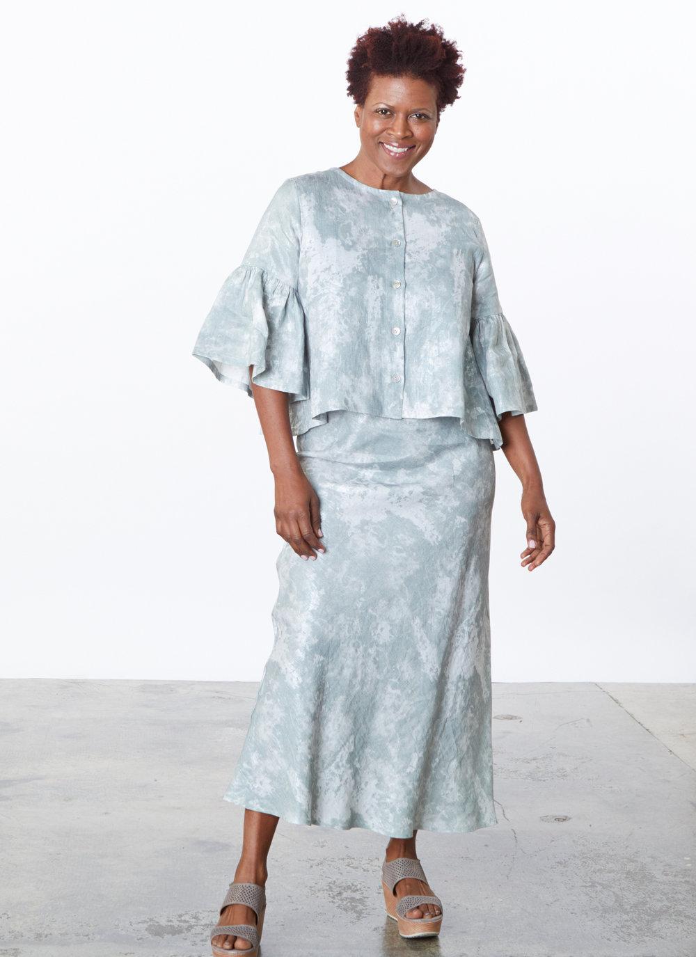 Frida Jacket, Long Bias Skirt in Acqua Sparkle Linen