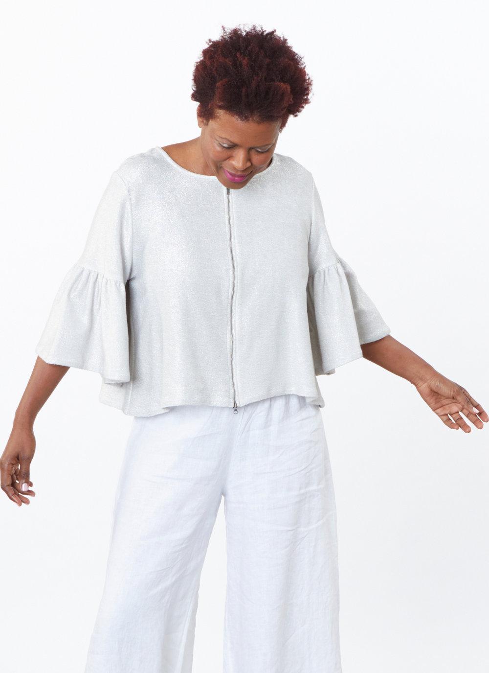 Frida Zip Jacket in Silver Ready for Newport Beach, Long Full Pant in White Light Linen