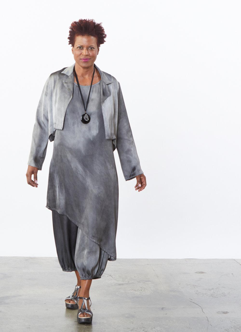Hathaway Jacket, Euna Dress, Bell Pant in Moonglade Tie Dye