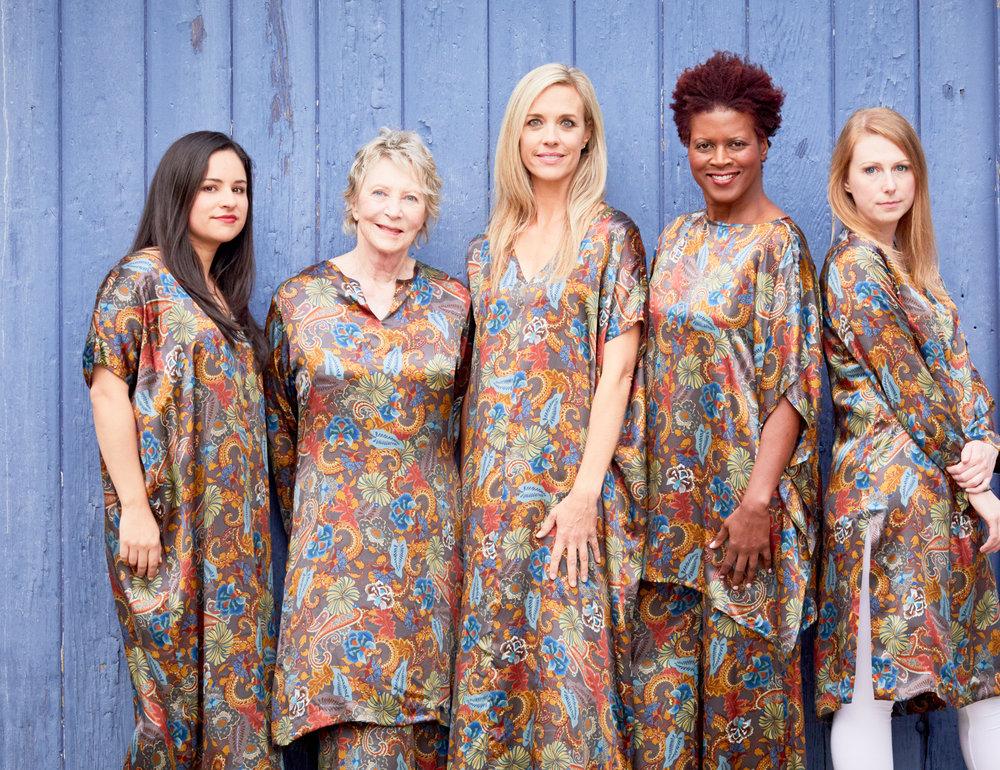 Long Poncho, Risa Tunic, Pina Poncho, Long Full Pant in Paisley Silk Print