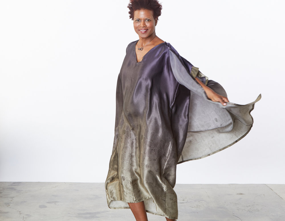 Ezra Cardigan, Long Poncho in Plume Ombre Silk