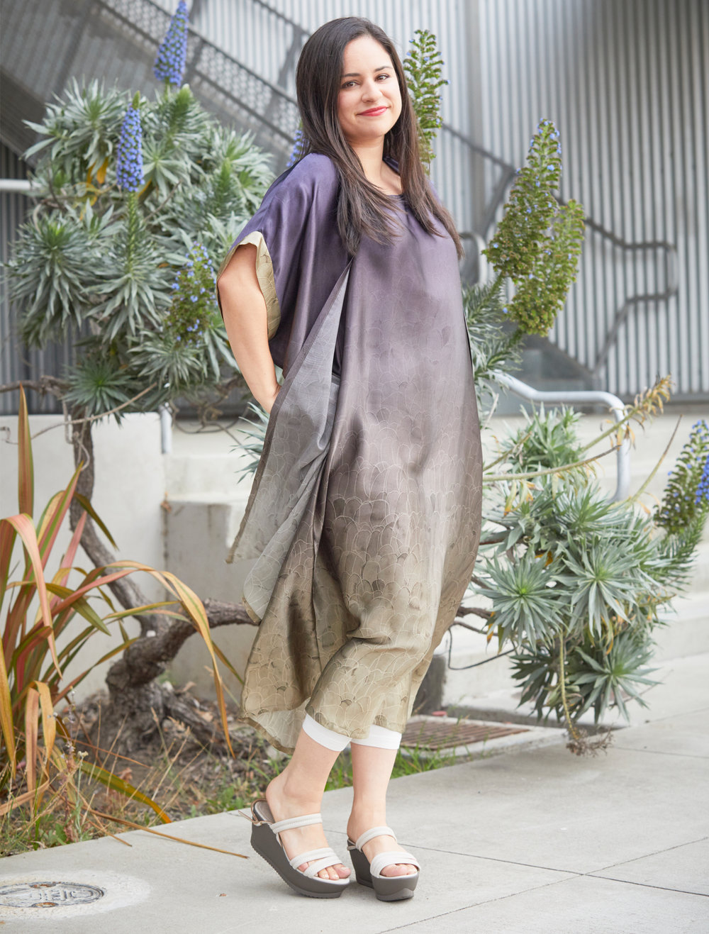 Ezra Cardigan, Trapeze Dress in Plume Ombre Silk