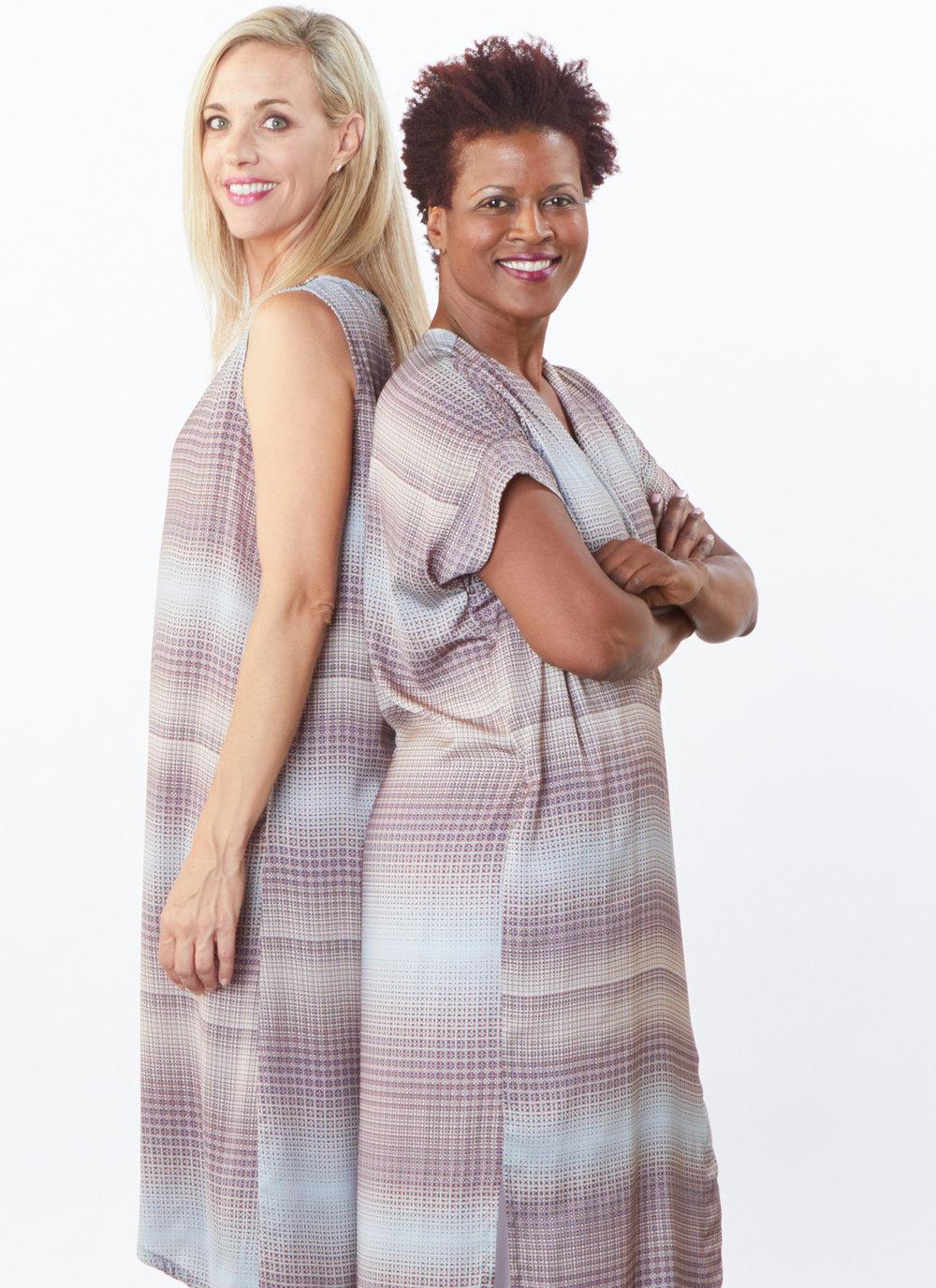 Euna Dress, Long Freja Dress in Geo Print