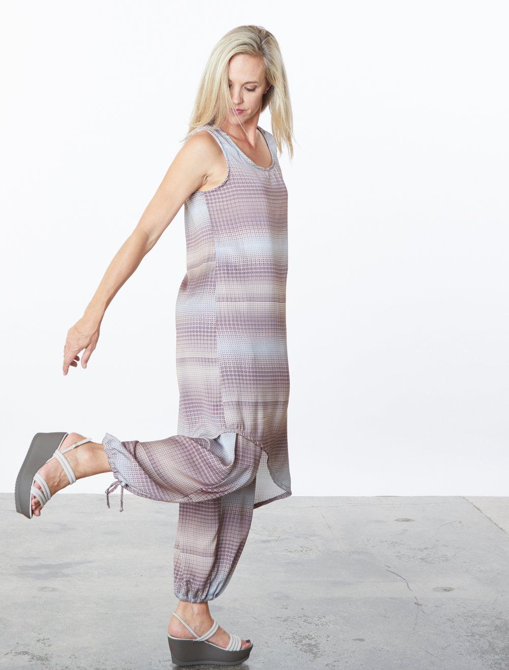 Euna Dress, Sasha Pant in Geo Print