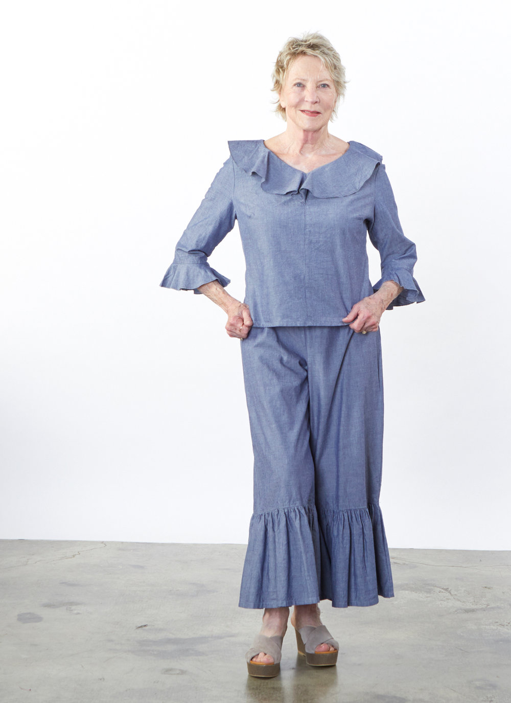 Georgia Shirt, Ruffle Pant in Oia Cotton Chambray
