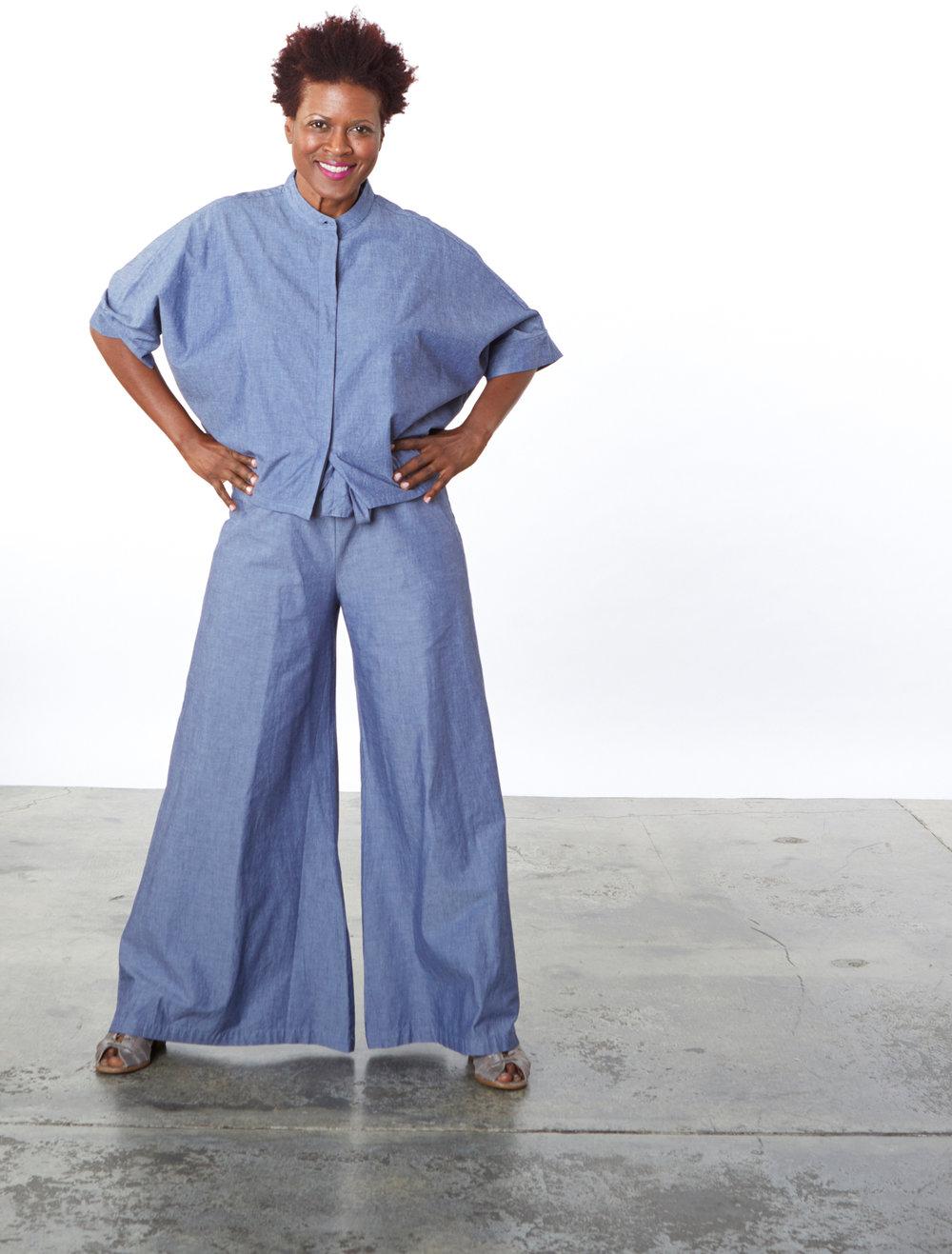 Joe Shirt, Tie Waist Pant in Oia Cotton Chambray