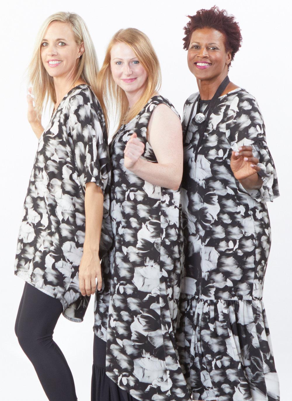 Raquel Tunic, Euna Dress, Seraphina Dress in Black Tulip Print, Legging, Ruffle Pant in Black Microfiber Jersey