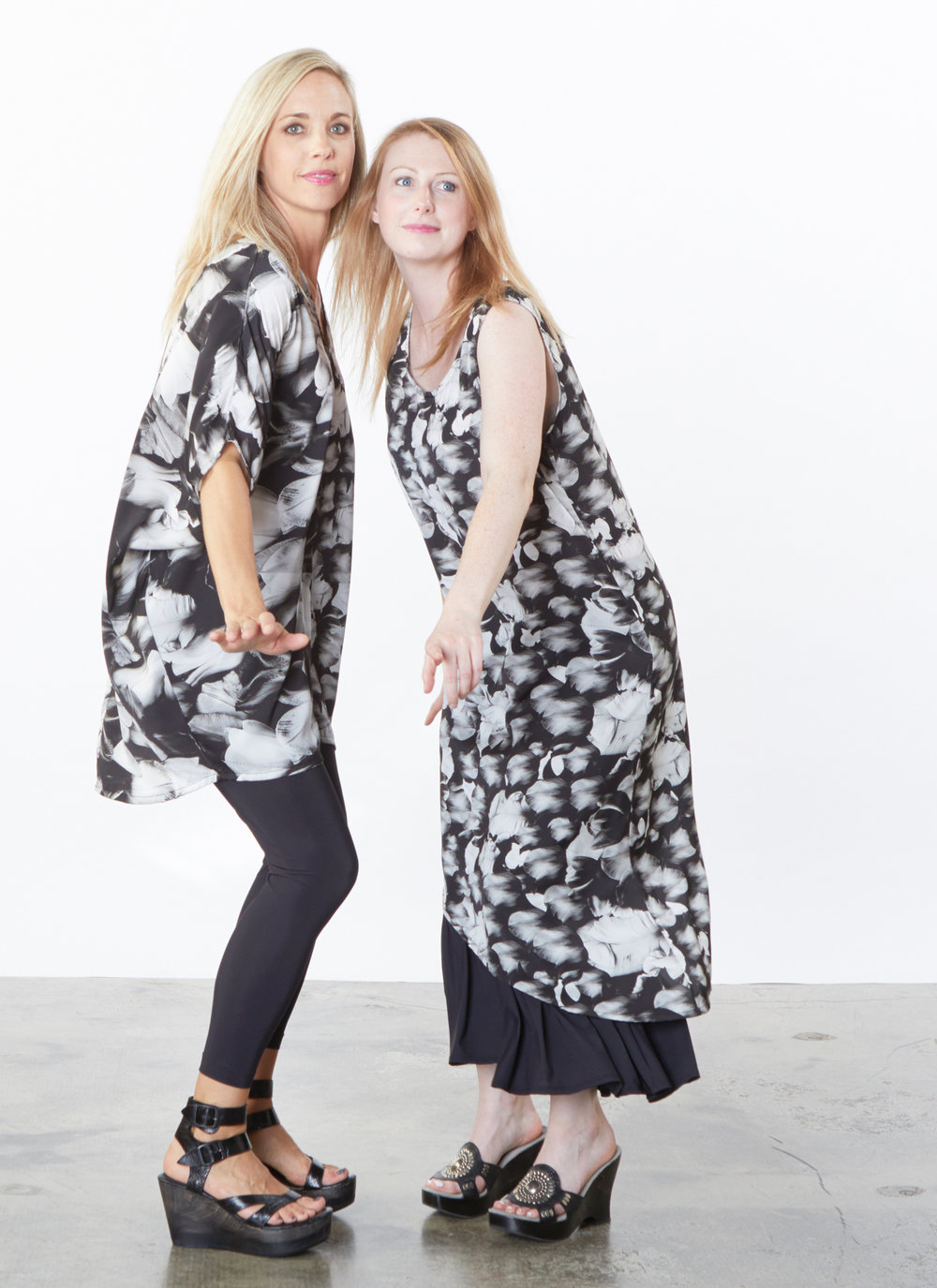 Raquel Tunic, Euna Dress in Black Tulip Print, Legging, Ruffle Pant in Black Microfiber Jersey