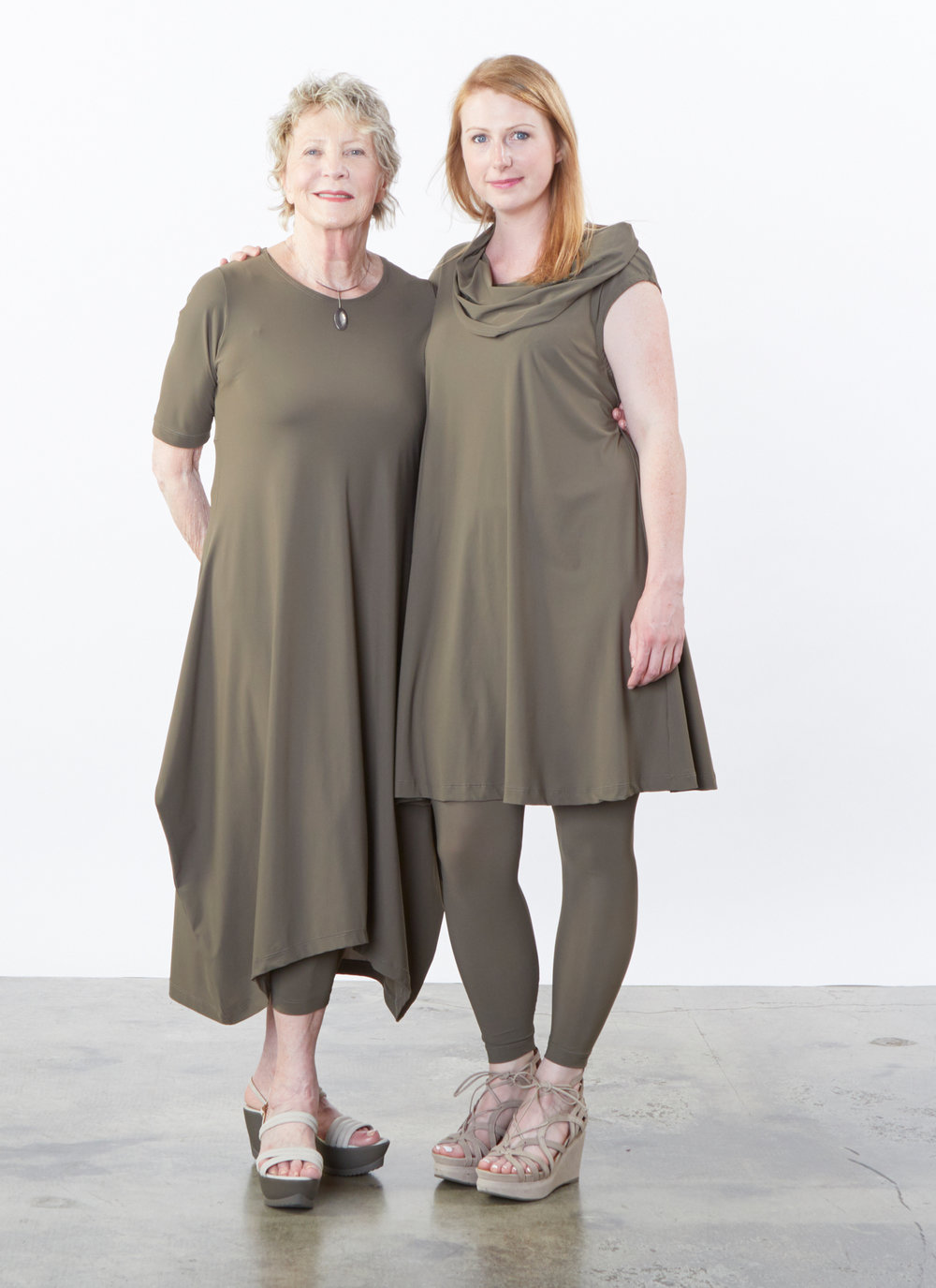 S/S Chelsea Dress, Nolan Tunic, Legging in Olive Microfiber Jersey