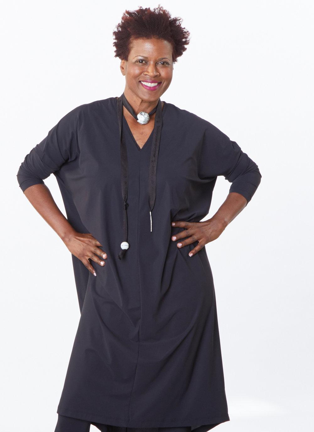 Renata Dress in Black Microfiber Jersey