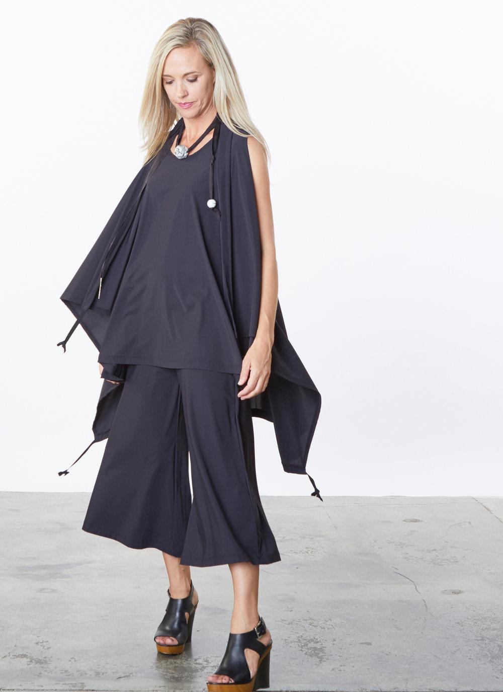 Eve Vest, Aldous Tunic, Ella Pant in Black Microfiber Jersey