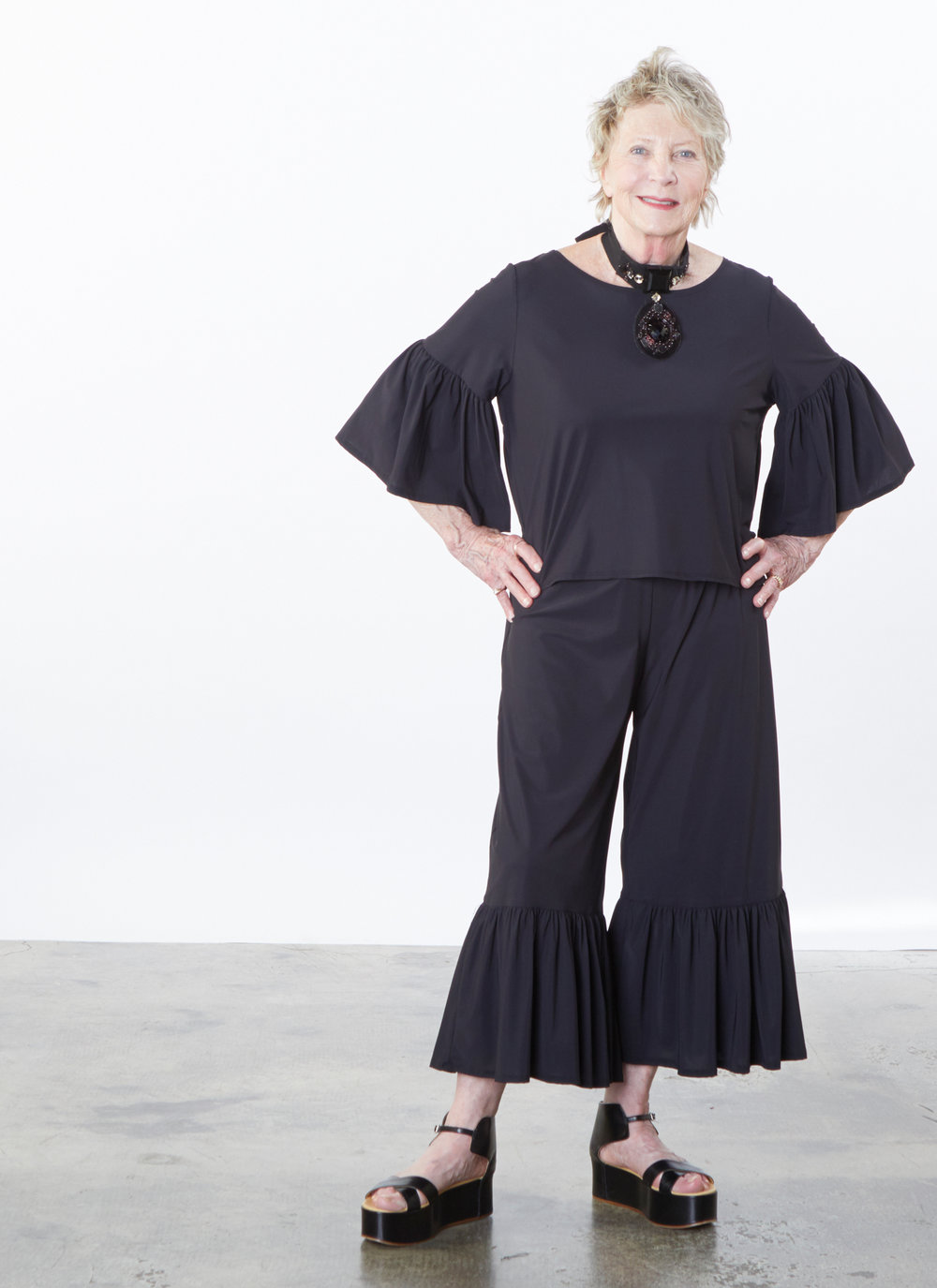 Frida Shirt, Ruffle Pant in Black Microfiber Jersey