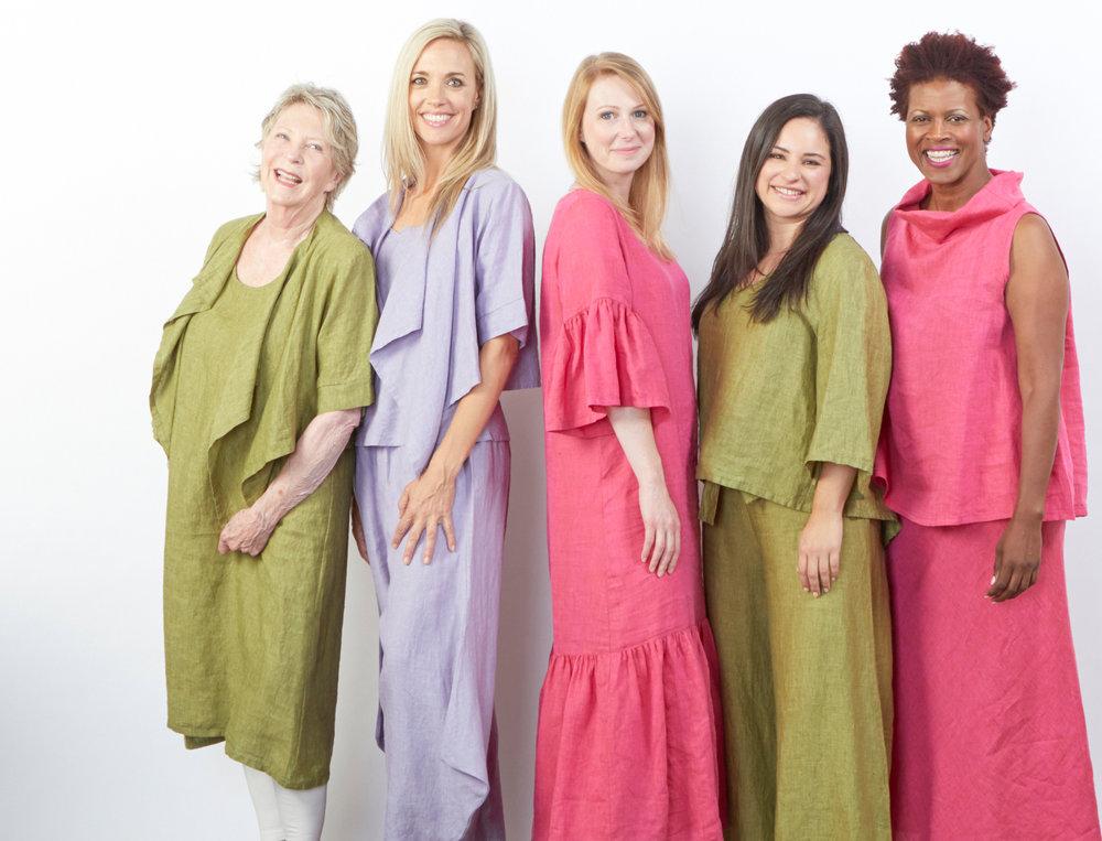Malin Jacket, Luella Dress, Lily Shirt, Crop Tie Waist Pant in Ravello, Malin Jacket, Seamus Pant in Pienza, Seraphina Dress, Etta Tank, Long Bias Skirt in Anacapri Cross Dyed Linen