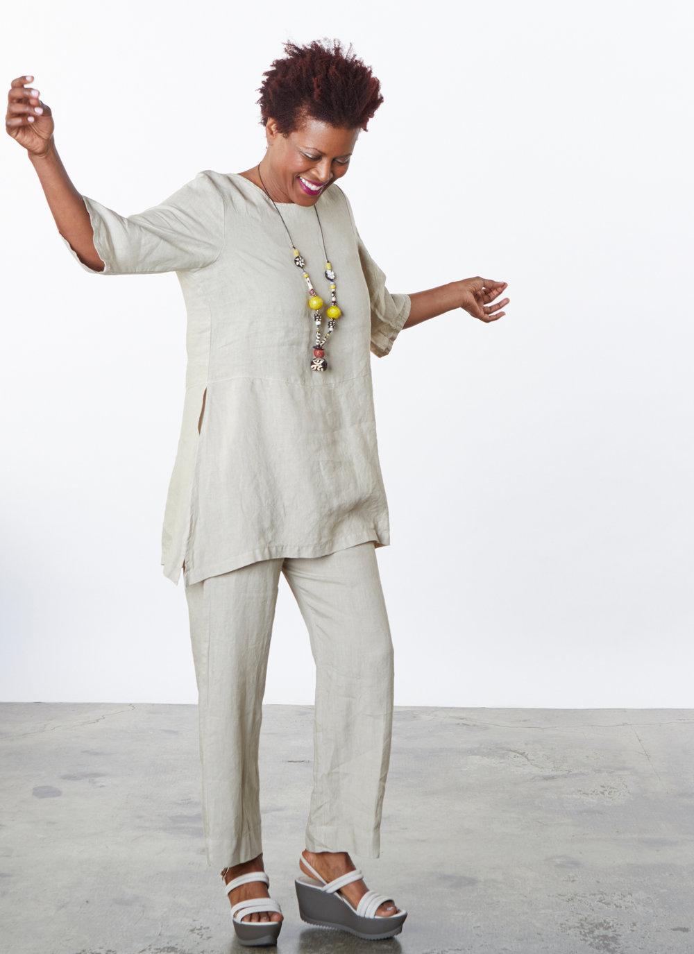 Bre Tunic, Flat Front Pant in Lark Light Linen