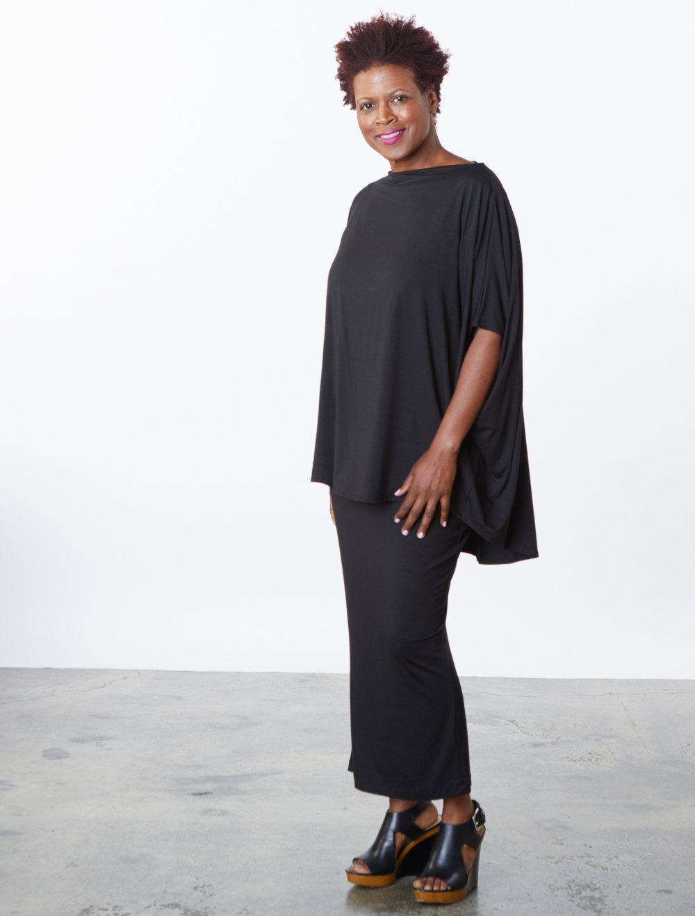 Debo Tunic, Slim Skirt in Black Italian Viscose Jersey