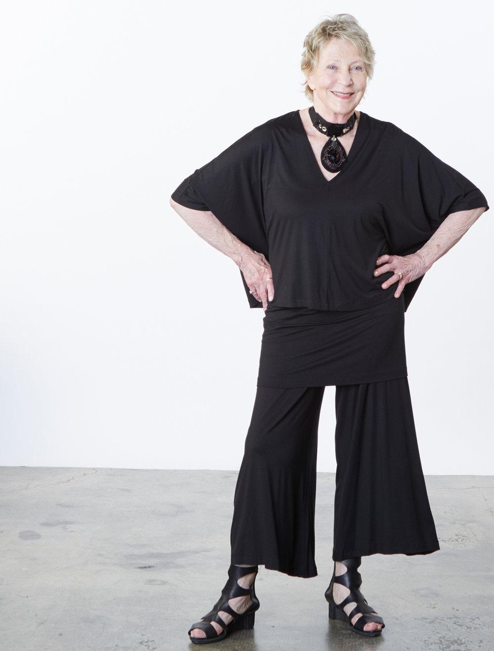 Rey Shirt, Lola Tank, Ella Pant in Black Italian Viscose Jersey