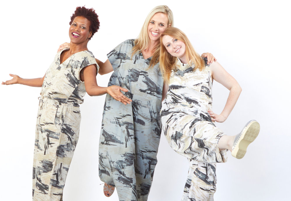 Long Jumpsuit in Lark, Rebecca Dress in Pietra, Etta Tank, Oliver Pant in Cream Print Poplin