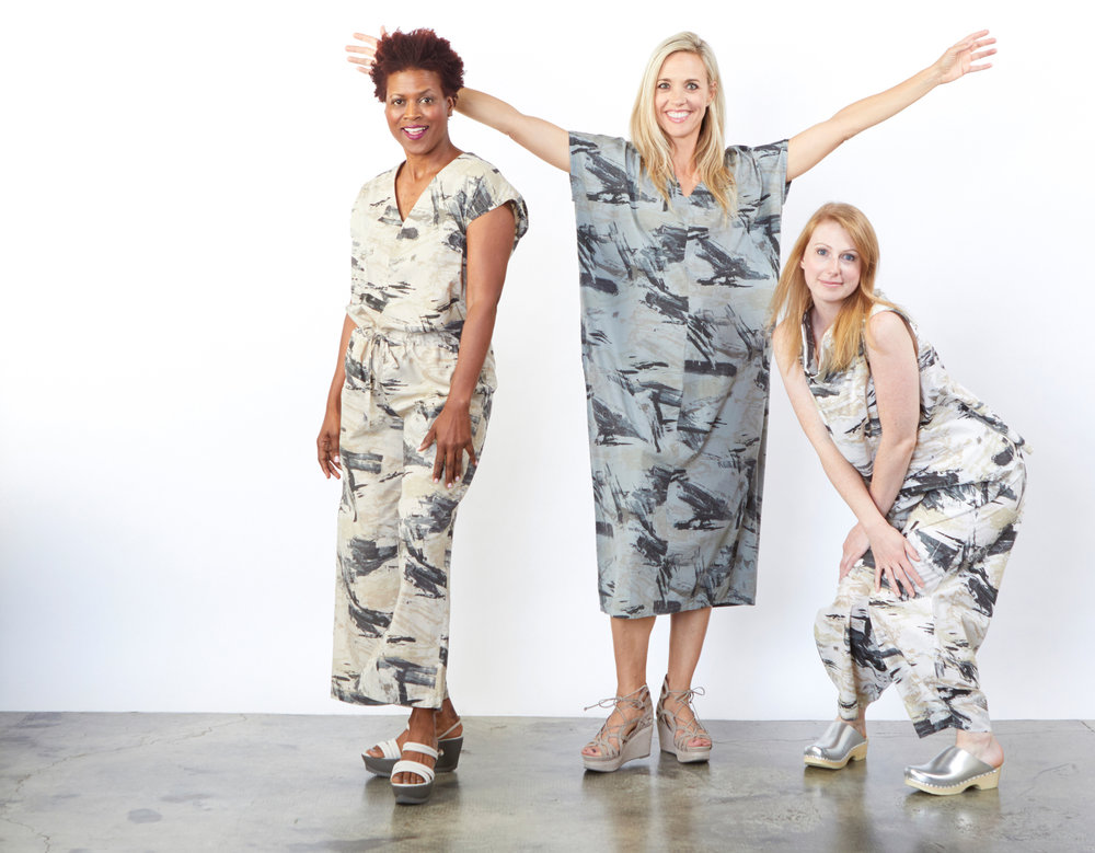 Long Jumpsuit in Lark, Rebecca Dress in Pietra, Etta Tank, Oliver Pant in Cream Print Poplin