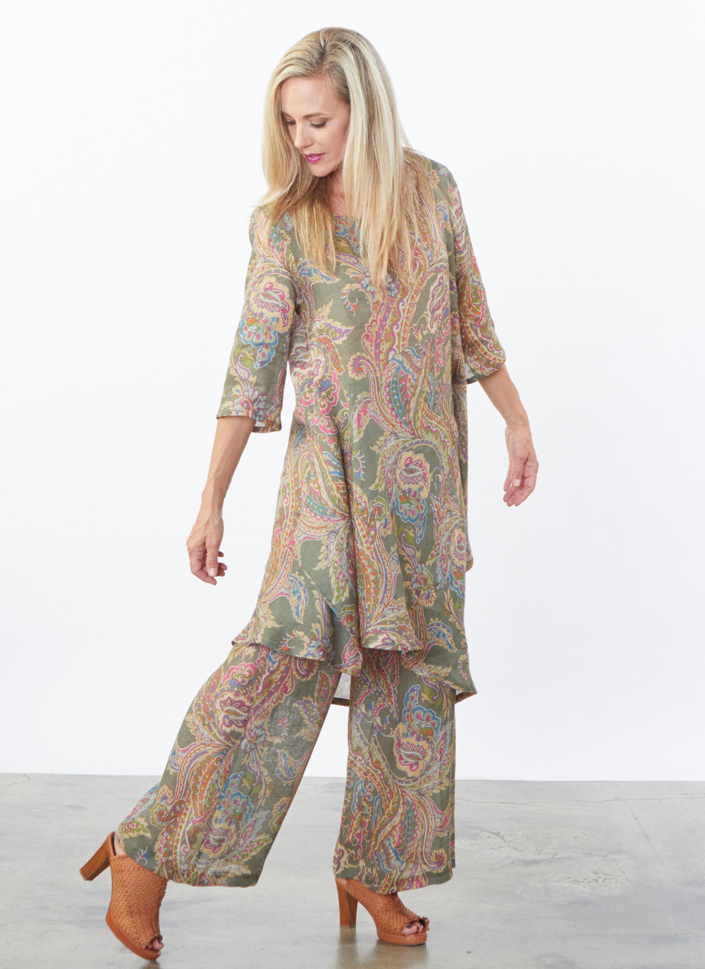 Lilia Tunic, Long Full Pant in Erba Paisley Italian Linen