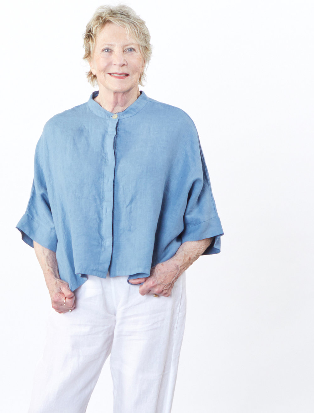 Joe Shirt in Geyser, Flat Front Pant in White Light Linen