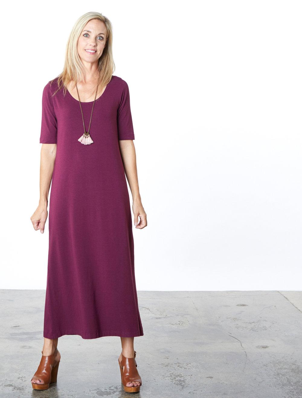 S/S Bobbi Dress in Mangosteen Bamboo Cotton