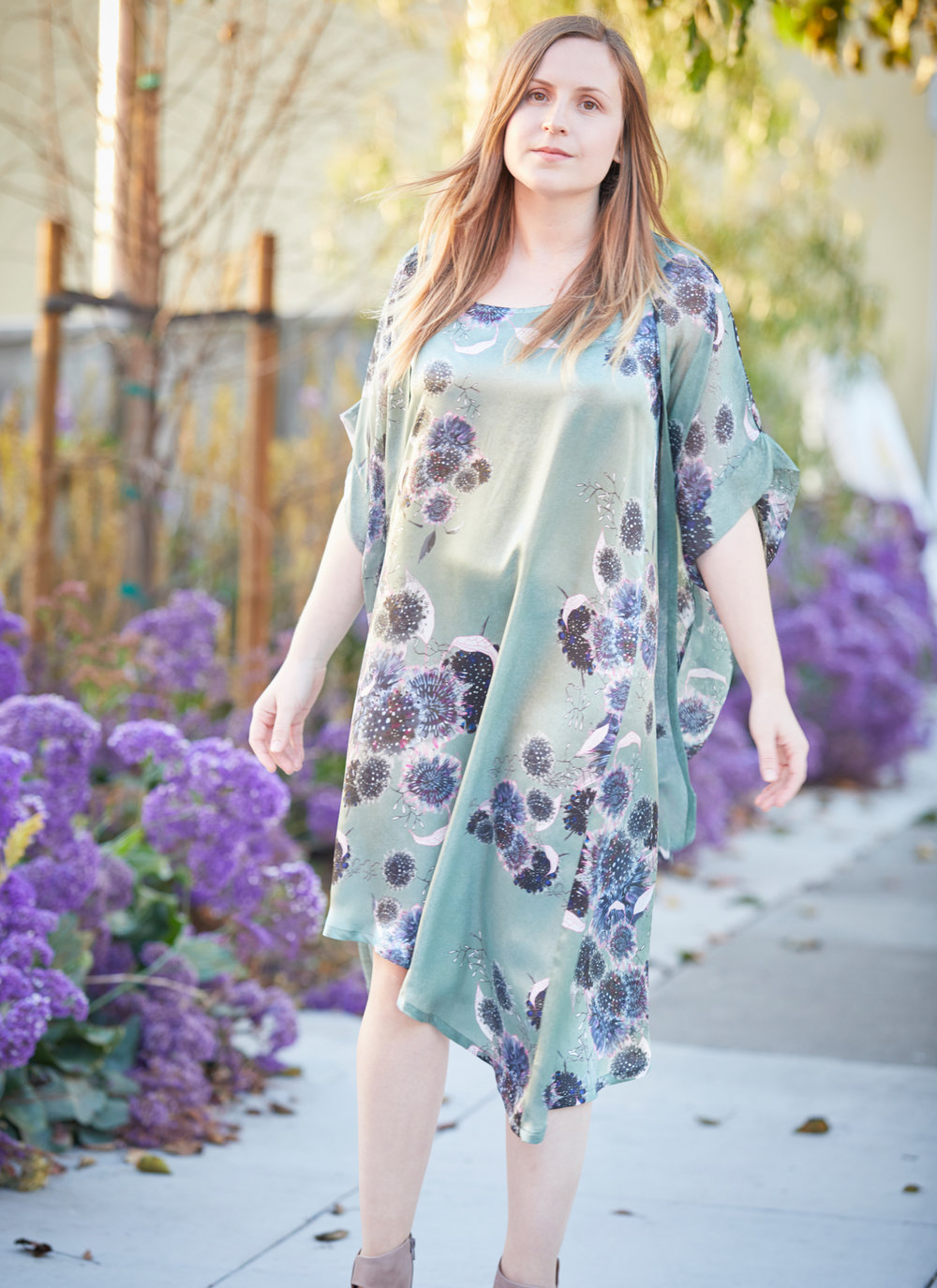 Euna Dress in Thistle Silk Print, Ezra Cardigan in Thistle Sheer Silk