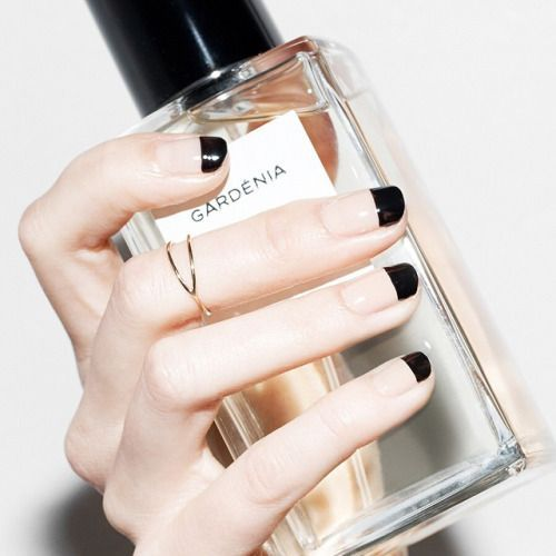hand with black french tips holding perfume