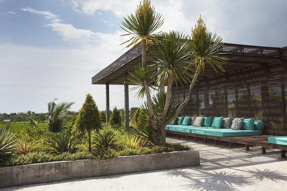 Outside a villa in Bali