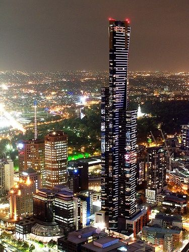 A birds eye view of Melbourne lit up at night